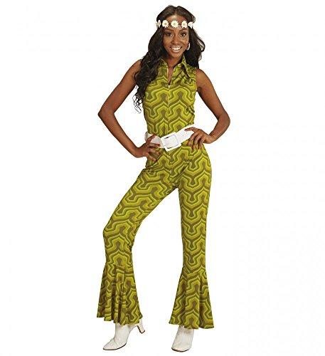 PSUIT mit Tapetenmuster Grün Disco Damen Kostüm Overall Siebziger Schlager 70's, Größe:L (70er Jahre Damen Kostüm)