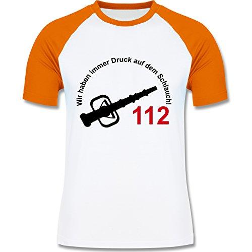 Feuerwehr - Wir haben immer Druck auf dem Schlauch - zweifarbiges Baseballshirt für Männer Weiß/Orange