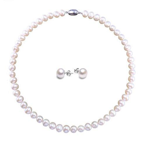 Damen Kette und Damen Ohrring Süßwasserzuchtperlen Schmuck Set Perlen kette und Perlen Ohrstecker mit AAA Süßwasserzuchtperlen