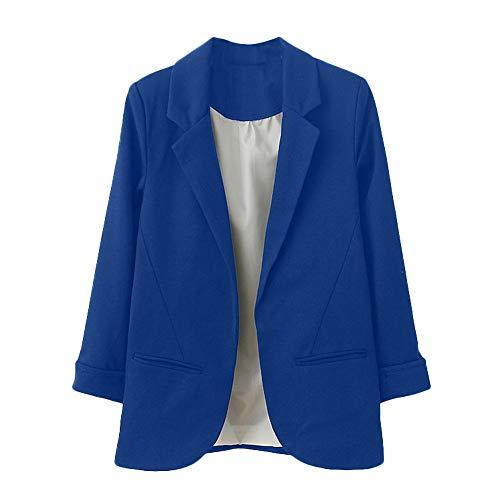 Blazer para Mujer STRIR Mujer Manga 3/4 Blazer Elegante Oficina Negocios Parte Traje De Chaqueta Slim Fit Abrigo Cardigan Outwear Blusa Top (L, Azul Oscuro)