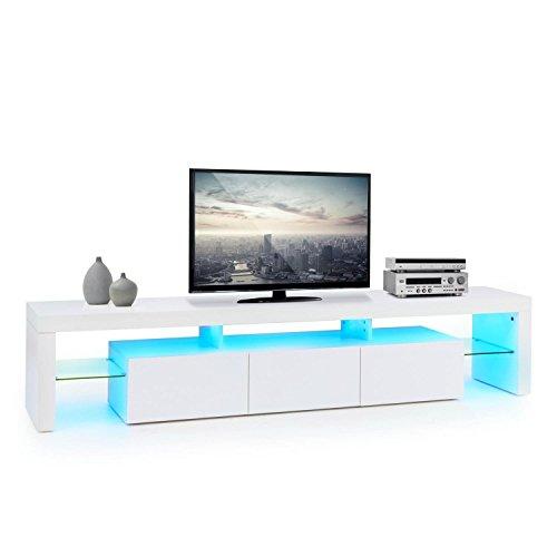 Oneconcept quentin lowboard tv mobile soggiorno (3 cassetti scorrevoli, led 21 colori con telecomando, ripiano per dvd, struttura a ponte) - bianco