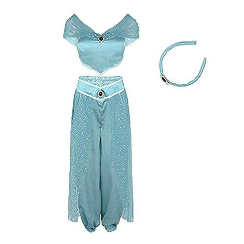 FeMereina Frauen Jasmin Prinzessin Cosplay Kostüme Bauchtanz Dress Up Anime Lampe Kostüme Party Abenteuer Outfit Dunkelblau (L, Hellblau)