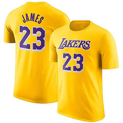 Herren T-Shirt NBA Los Angeles Lakers Lebron James Jersey Rundhals Atmungsaktives Basketball-Shirt für die Jugend Top Komfortables Sport-T-Shirt Yellow-L