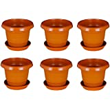 Minerva Naturals 4 Inch Brown Colored Plastic Small Nursery Pots Planters - (Height/Depth - 10 Cms/4 Inches) (Pack Of 6)