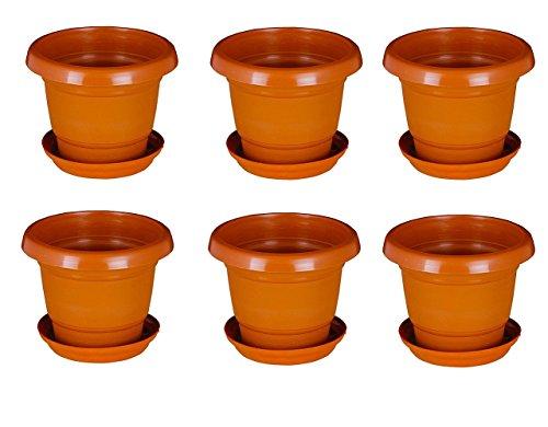 Minerva Naturals 4 Inch Brown Colored Plastic Small Nursery Pots Planters -...