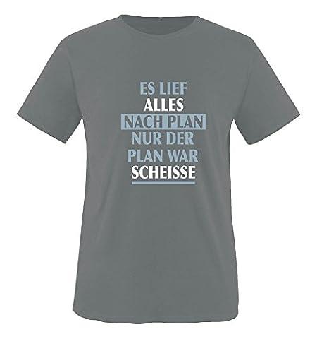 Comedy Shirts - Es lief alles nach Plan nur der Plan war scheisse. - Herren T-Shirt - Dunkelgrau / Eisblau-Weiss Gr. (Beste Tv-preise Nach Weihnachten)