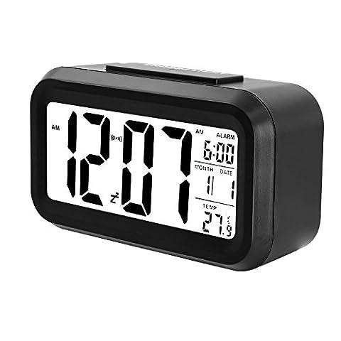 Soyion Batteriebetriebener Digital-Wecker mit extra großem Display, Snooze, Datumsanzeige, Temperatur