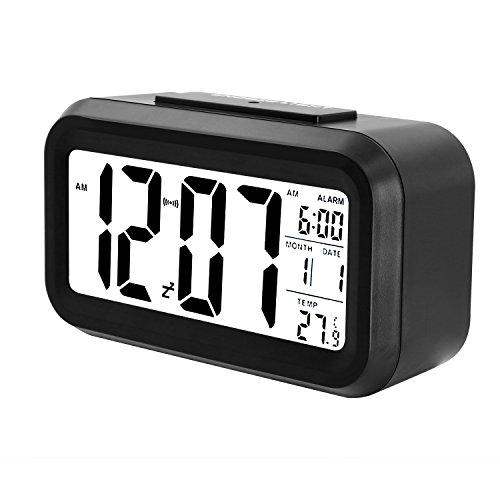 Soyion Batteriebetriebener Digital-Wecker mit extra großem Display, Snooze, Datumsanzeige, Temperatur und Lichtsensor - Hell Wecker Zu Nicht