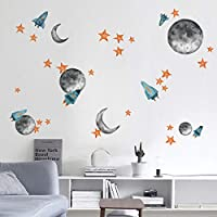 ufengke Outer Space Wall Stickers Star Rocket Planet Wall Decals Art Decor for Kids Boys Bedroom Nursery Living Room