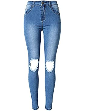 Tribear Damen Hight Waist Jeans Hose Röhrenjeans mit Riss Knie Destroyed Hose