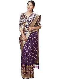 SareeShop Sarees Women's Purple Color Cotton Silk Jacquard Saree With Blouse # 591F9ABD6AEF51B0