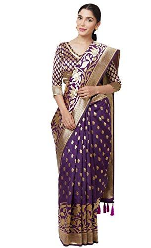 SareeShop Sarees Women's Purple Color Cotton Silk Jacquard Saree With Blouse #...