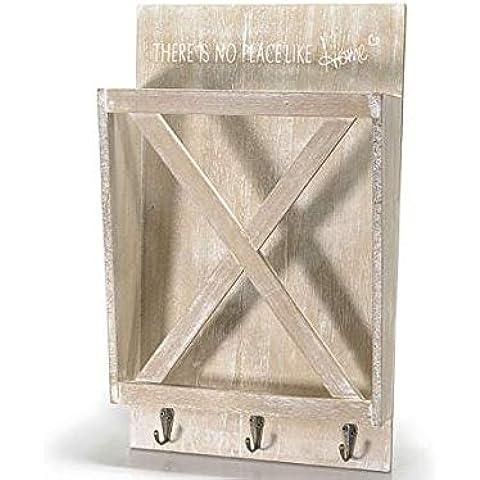 Cartas, revistero decorativo madera 3ganchos para colgar a la pared