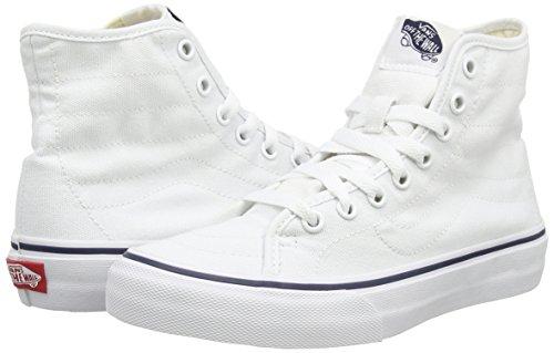 Vans U Sk8-Hi Decon, Alte Scarpe da Ginnastica, Unisex Bianco (canvas true white/dress blues)