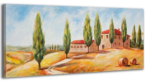 YS-Art Acryl Gemälde Toskana | Handgemalt | 115x50cm | Wand Bild | Moderne Kunst | Leinwand | Unikat | mehrfarbig
