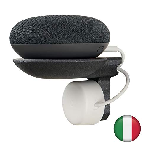GOOGLE MINI HOME紧凑支持ITALIAN SOCKET隐藏式电缆墙上没有SCREWS或GLUE PLUG MOUNTING支架适用于厨房浴室卧室意大利制造BIO塑料(无烟煤色)