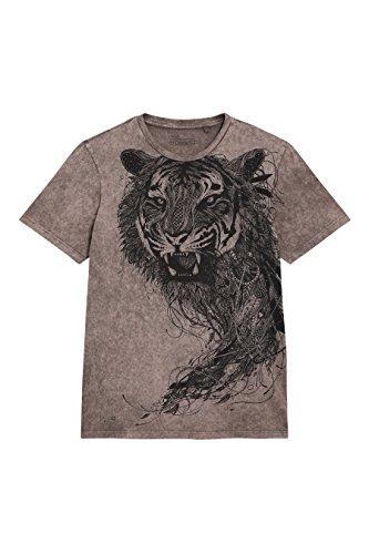 Tiger Baumwolle Polo-shirt (Next Herren T-Shirt in Acid-Waschung mit Tiger-Print Normale Passform Taupe XL)