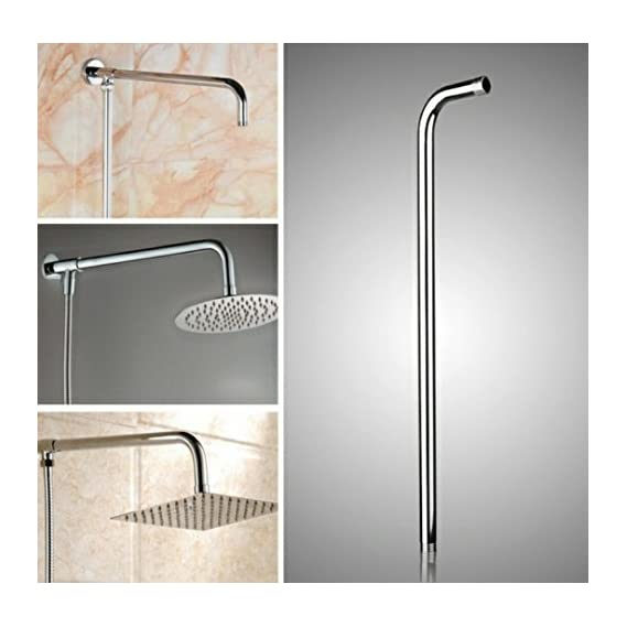 TOTAL HOME Stainless Steel Long Wall Shower Head Arm Extension Pipe (Silver, 24-inch)