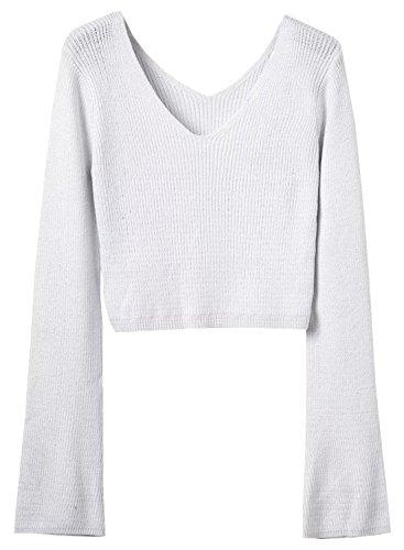 Futurino Femme Flare Manche Pull Sweater Crop Top white