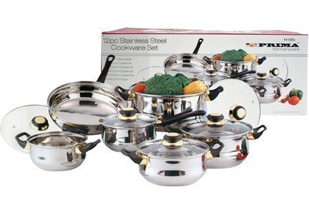 Prima 12 Piece Stainless Steel Cookware Pan Set With Lids - Saucepan, Fyring pan, Casserole Pots