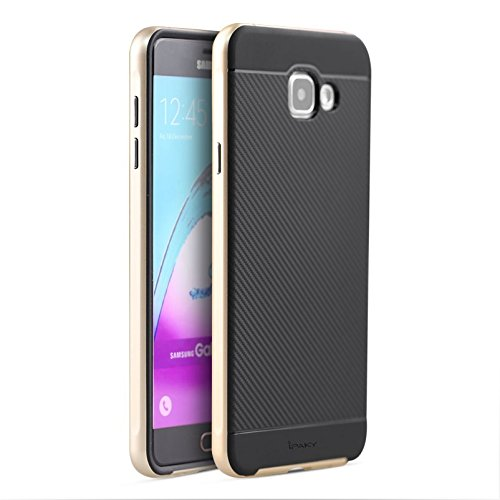 Original iPaky Brand Luxury High Quality Silicon Black Back + PC Golden Bumper Frame Shockproof Back Cover for Samsung Galaxy A7 2016 Dual Sim [SM-A710F]