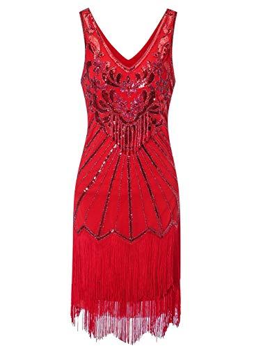 Zhisheng You Damen Flapper Kleider 1920er Jahre V-Ausschnitt Perlen Fransen Kleid Great Gatsby Kleid - Rot - - Roaring 20's Übergröße Flapper Kostüm