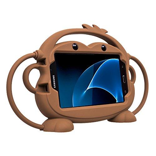CHIN FAI Samsung Galaxy Tab 3/4 / A/E Lite 7-Zoll-Tablet-Fall für Kinder, Cartoon doppelseitigen AFFE Silikon-Schutz-Cover-Griff Standplatz Fall für Samsung Modell P3200 / T113 / T230 (Braun)