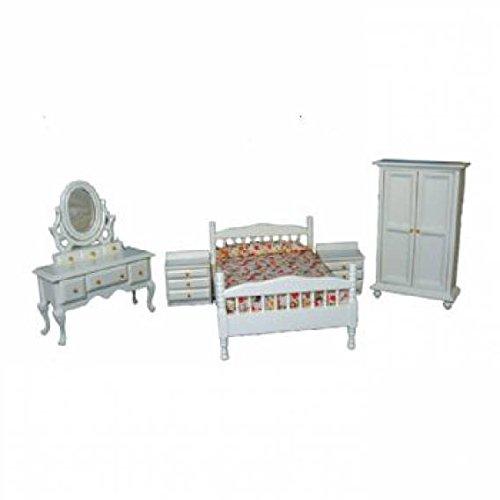 Casa delle bambole scala 1: 5pezzi Set camera da letto bianco