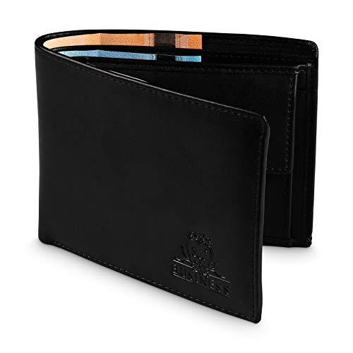 360°Business Geldbörse Herren mit 12 Kartenfächern - Sichtfach - RFID Schutz - Portemonnaie Männer Leder PU Schwarz - Geldbeutel Münzfach NFC - Wallet Querformat