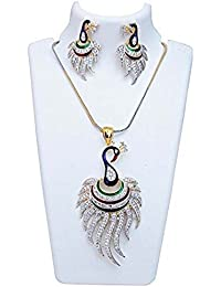 KAAYRA American Diamond Gold Plated Peacock Design Pendant Set With AD Chain And Earring For Women & Girls