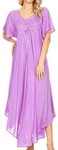 Sakkas 1701 - Lilia gestickter schnüren Sich Oben Mieder Relaxed Fit Maxi Sun Kleid - Purple - OS