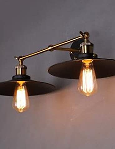 XX&GX Rural Industrial Retro Wall Lamp Double Wall Lamp Black Umbrella , yellow-220-240v