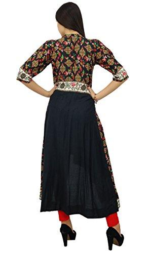 Bimba les à long asymmetrial bouton robe imprimée vers le bas rayonne de marque Noir