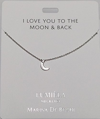 184d67bc3d44e LOVE YOU TO THE MOON & BACK Lumeila Necklace Marina De Buchi Silver Colour  Presented By Sterling Effectz