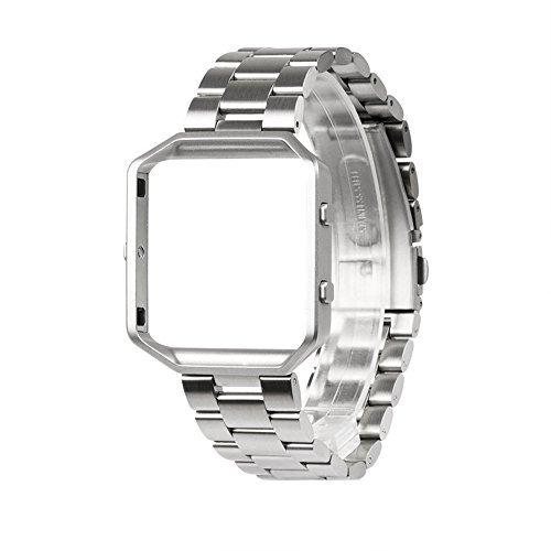 Wearlizer für Fitbit Blaze Armband mit Rahmen, Edelstahl Strap Ersatzarmband Band für Fitbit Blaze Armband Herren Damen