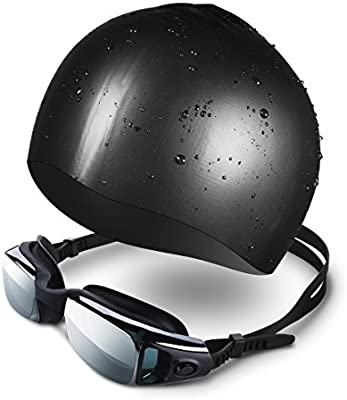 Mpow Gafas sin Costura Protección de UV y Niebla, Gafas de Natación para Hombres o Mujeres Maduros, Gorro de natación incluido