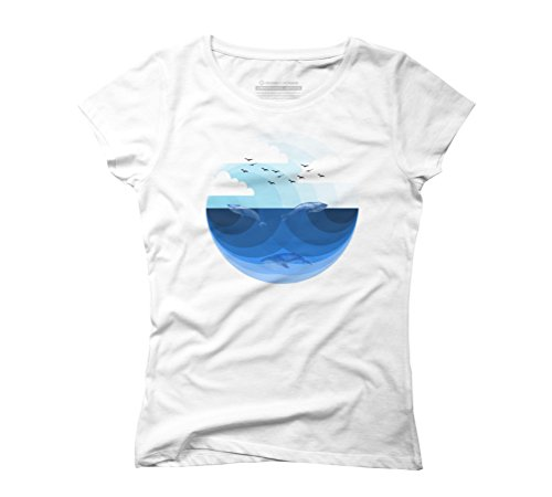 Nature Blues Women's Graphic T-Shirt - Design By Humans White