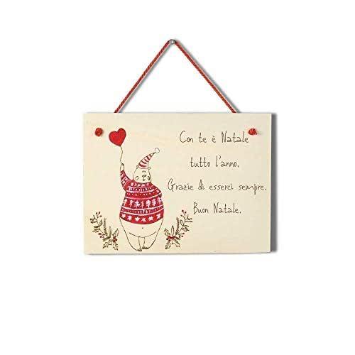 Targa natalizia regalo Natale personalizzabile in legno orsetto con cuore