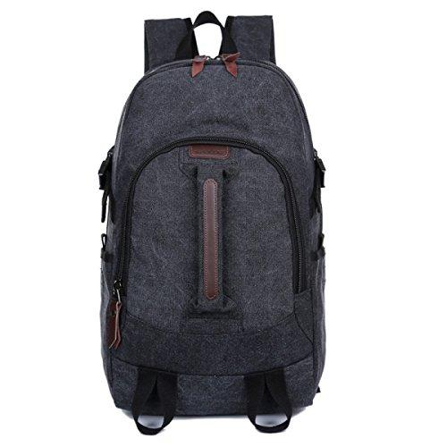 BULAGE Taschen Leinwand Schultern Männer Und Frauen Gymnasiasten Schultaschen Lässig Im Freien Rucksack Reisen Wandern Taschen Black