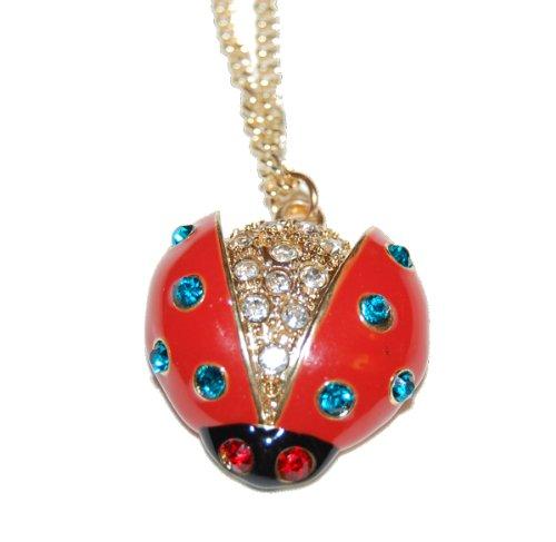 ienkäfer/Ladybug lang Kostüm Halskette mit bunten Kristallen und einem Gold Kette Kitsch Fashion Halskette (Glitzernden Kostüm Schmuck)