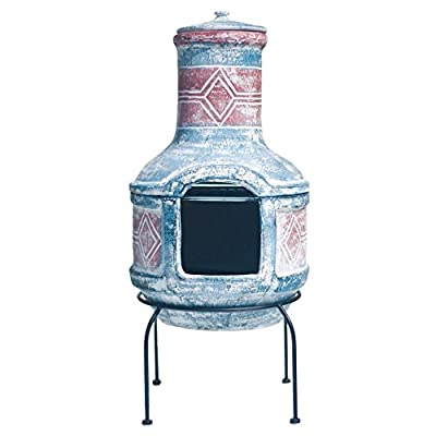 Blue Red Chimenea With Grill Handmade Geometric Design Ideal For Campfire Cooking from La Hacienda