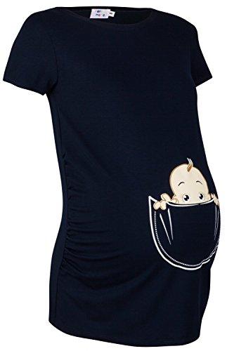 Happy Mama. Damen Baby in der Tasche T-Shirt Top Oberteil für Schwangere. 501p Marine