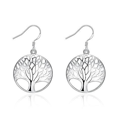 iCAREu Silver Plated Tree of Life Dangle Earrings by iCAREu