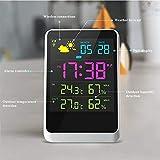 eTTgear - Sveglia digitale wireless con visualizzazione meteo, temperatura e umidità, ampio schermo...