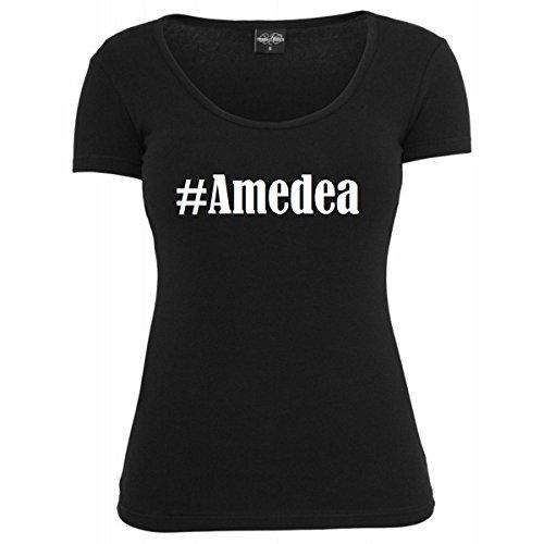 T-Shirt #Amedea Hashtag Raute für Damen Herren und Kinder ... in den Farben Schwarz und Weiss Schwarz