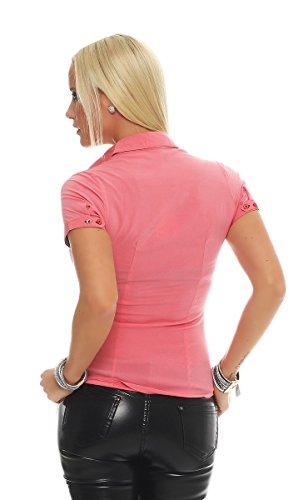 11028 Fashion4Young Kurzarm Businessbluse Bluse Hemd Business Hemdbluse elastischem Stretch Coral