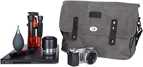 Rollei Vintage Fototasche / Everyday Messenger Bag / Schultertasche für DSLM, DSLR Kameras und Objektiv, mit 12 l Fassungsvermögen, inkl. Regenschutz