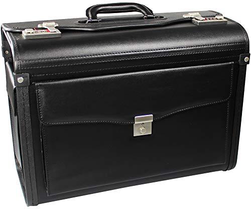 com-four® Pilotenkoffer | Aktenkoffer schwarz, 46,0 x 33,5 x 21,0 cm, Leergewicht: ca. 2,1 Kg