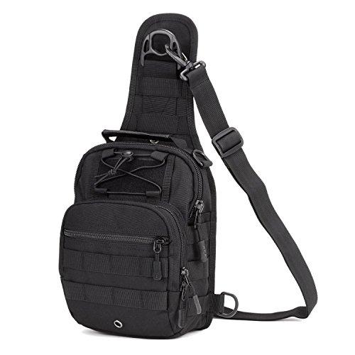 Imagen de hombre mujer bolsa táctico militar bolsa de pecho bolso al hombro de moda bolsa de aire libre para ocio deporte senderismo bolsa , negro