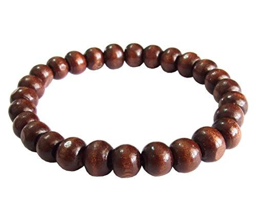 artisanat-asiatique-bracelet-mala-bouddhiste-fait-main-perles-en-bois-brun-elastique-thailande